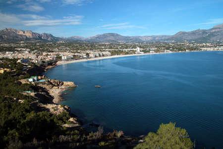 altea: Town of Altea in Benidorm Bay; Spain  Stock Photo