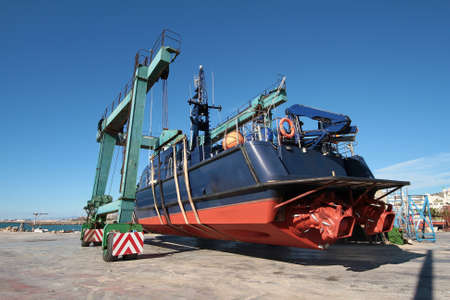coastguard: Launching a coastguard after repair in shipyard