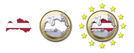 latvia: Euro  Latvia Stock Photo