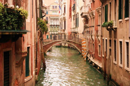 Lovely canals and houses in Venice photo