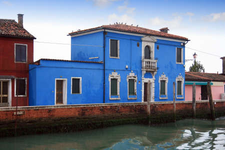 Colored houses and canals in Burano; Venice Stock Photo - 17347392