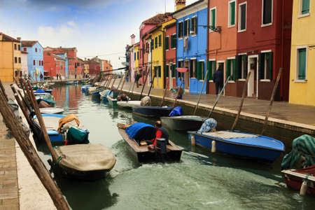 sestiere: Colored houses and canals in Burano; Venice