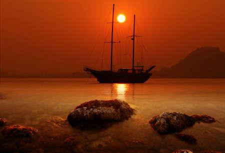 schooner: Schooner anchored in Alicante bay