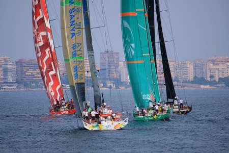 Volvo Ocean Race 2011-2012 teams sailing in Alicante bay  Stock Photo - 18431791