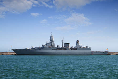 coastguard: German frigate tied up in the port of Alicante Stock Photo