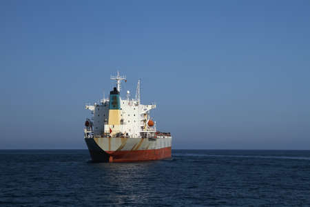 containership: Bullcarrier ship anchored waiting cargo