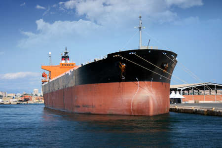 containership: Petrol tanker docked in port Stock Photo