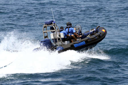 motor officer: Fast boat of the spanish customs sailing