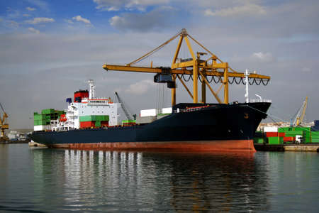 containership: Container ship working with cranes