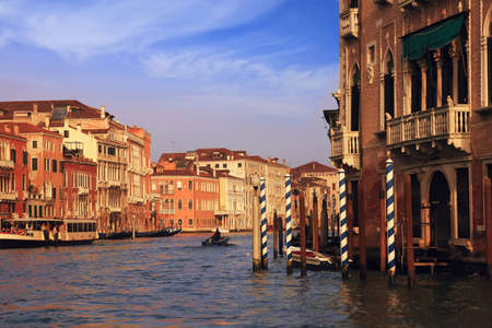 Buildings and hotels in the Grand Canal of venice