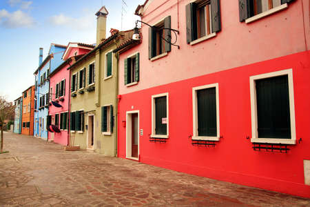 Colored houses in Burano island photo