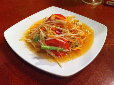 tam: Exotic food som tam originally from Thailand