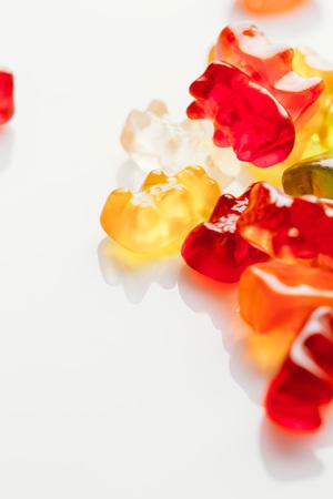 gummi bears close-up on a light background.