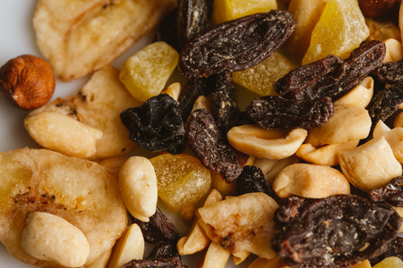 dried fruits close-up on a light background. Stock Photo