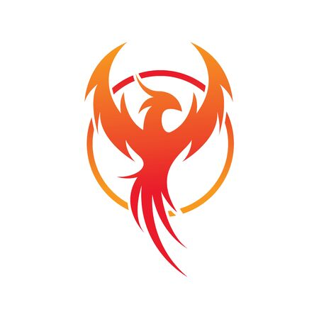 Flying Phoenix Fire Bird abstract Logo design vector template. Circle Dove Eagle Logotype concept icon. Vector high quality design Ilustração