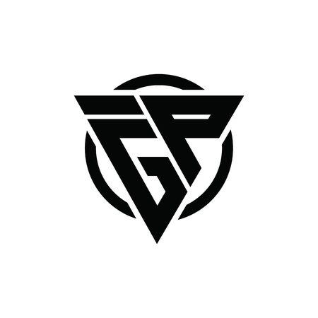 GP PG FGP Triangle Logo Circle Monogram Design Vector Super Hero Concept
