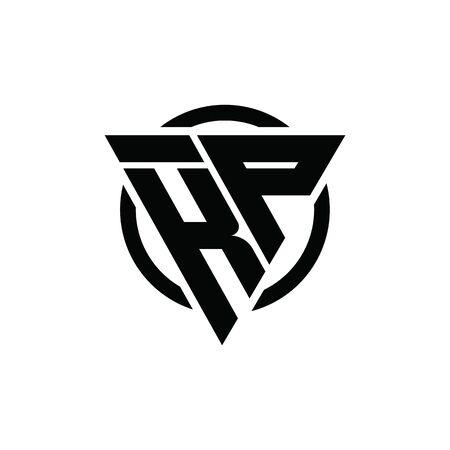 KP PK Triangle Logo Circle Monogram Design Vector Super Hero Concept