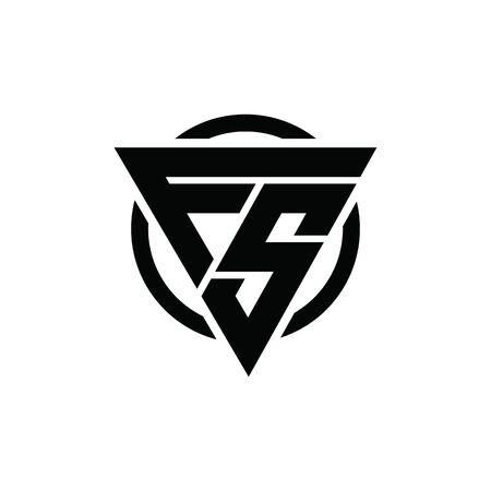 FS, SF Triangle Logo Circle Monogram Design Vector Super Hero Concept Logó