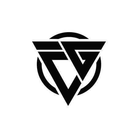 CG GC Triangle Logo Circle Monogram Design Vector Super Hero Concept