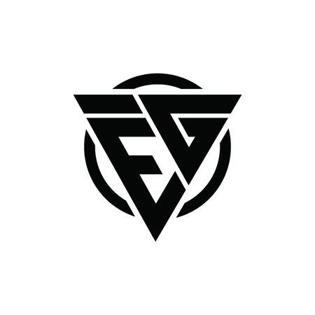 EG GE Triangle Logo Circle Monogram Design Vector Super Hero Concept Ilustração