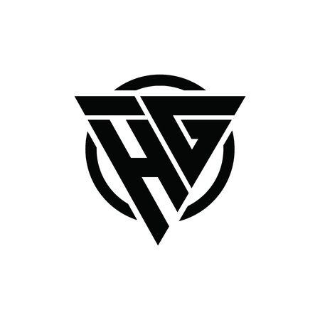 HG GH Triangle Logo Circle Monogram Design Vector Super Hero Concept