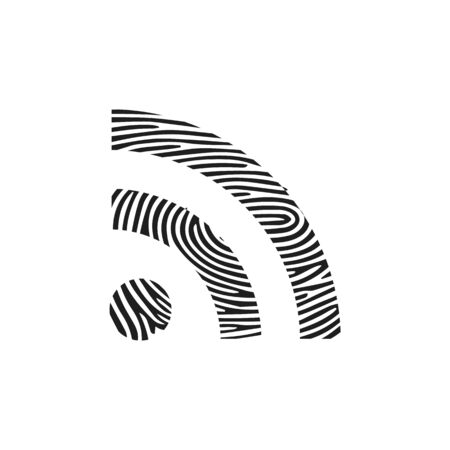 Fingerprint rss icon. Isolated thumbprint and fingerprint rss icon line style. Premium quality vector symbol drawing concept for your logo web mobile app UI design. Illustration