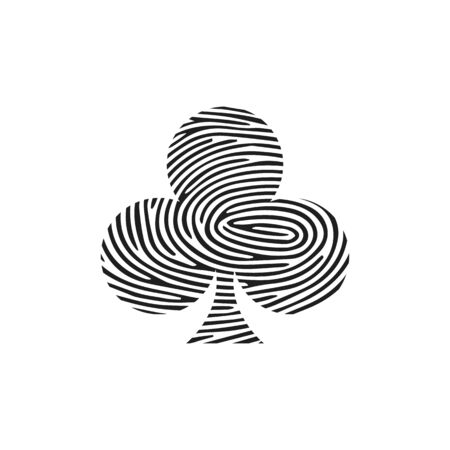 Club Playing Card Icon Fingerprint Concept. Fingerprint Club on a plate black icon. Isolated thumbprint and fingerprint coffee cup on a plate black icon line style. Premium quality vector symbol.