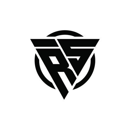 RS SR Triangle Logo Circle Monogram Design Vector Super Hero Concept Logó