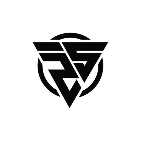 ZS SZ Triangle Logo Circle Monogram Design Vector Super Hero Concept