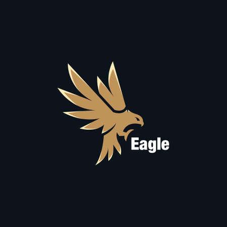 Hunting posting eagle design. Flying Eagle Golden Bird abstract Logo design vector template. Eagle Logotype concept icon. Vector high quality design