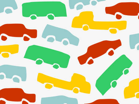 cars seamless pattern. You can use it in a group as web background, wallpaper, full print t shirt design materials and others. You also can use it separately become icon or logo template. Ilustrace