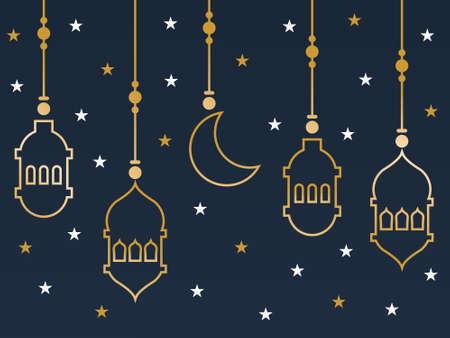 ramadan lantern moon stars pattern vector. You can use it as background, wallpaper, wrapper, holiday prints, scrapbook, or even wedding. You also can use it separately become icon or logo template.