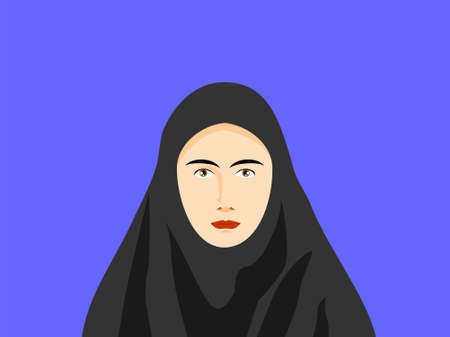woman in veil half body front look vector. You can use it as background, wallpaper, wrapper, holiday prints, scrapbook, wedding invitation, icon, logo template or for any design elements else.