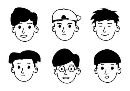hand drawn boys avatar vector illustration. You can use it as background, wallpaper, wrapper, holiday prints, scrapbook, wedding invitation, icon, logo template or for any design elements else.
