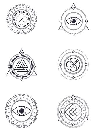 Esoterische Logo Sjablonen. Stock Illustratie