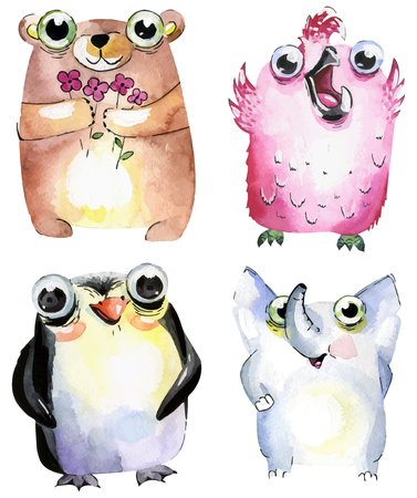 Watercolor Cute Animals Set.