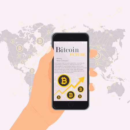 Bitcoin financial system grows. Cryptocurrency vector illustration on screen phone, map on background