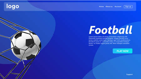 Football vector website template, landing page design for website and development. Vector Illustration