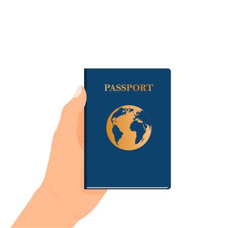 Passport in hand. A passport held by someone. Flat Design citizenship ID for traveler isolated. Blue international document - passport illustration.