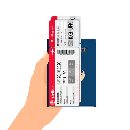Passport with air tickets in hand. A passport held by someone. Flat Design citizenship ID for traveler isolated. Blue international document - passport illustration.