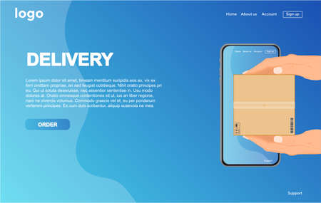 Online delivery service concept landing page. This design can be used for websites, landing pages.Internet shipping web banner.Vector illustration. Illustration