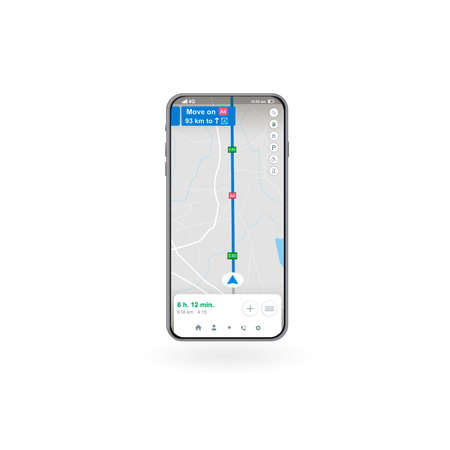 Map GPS navigation, Smartphone map application, App search map navigation, Banner. Vector illustration for graphic design.
