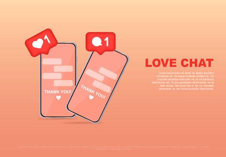 Love chat, online dating or social network, virtual relationships. Love message. Concept for website and mobile website development, banner, postcard, advertisement. Vector illustration.