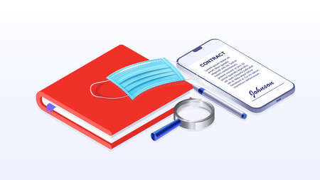 Online work, work from home, online contract signing. Banner. Isometric vector illustration.