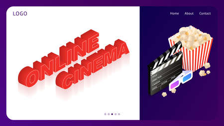 Template for a website with online cinema. Cinema set. Online application for watching movies. Isometric vector illustration