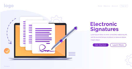 Electronic contract or digital signature concept in vector illustration. Signing an electronic contract online. Website template or web page layout. The working process.
