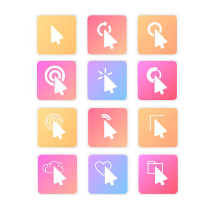 Pointer click icon. Clicking cursor, pointing clicks and waiting loading icons. Website arrows or hands cursors tools, computer interface button. Vector isolated symbols collectionSet of icons.