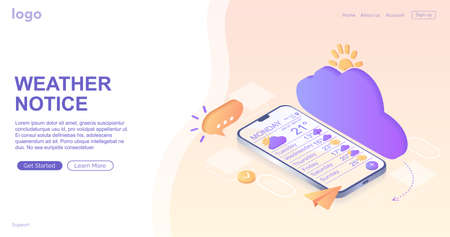 Weather notification. Digital communication. Instant messenger, notification mobile smartphone and laptop for chatting in social media. Process, classification, database. Landing page, template, web