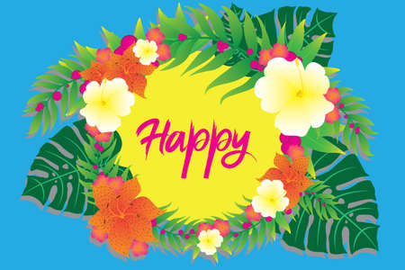 Tropical template for your photo or text with flowers and leaves.