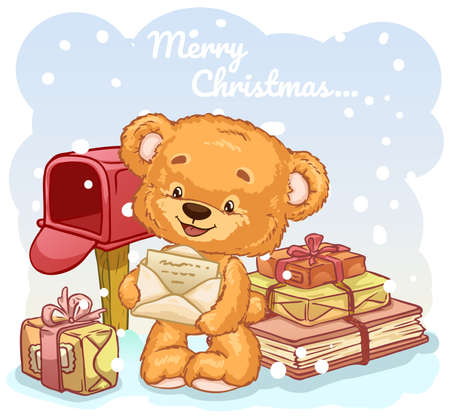 Plush toy bear between gifts sends a letter to Santa Claus. Cartoon characters. Vector illustration.